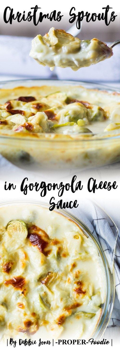 christmas sprouts in gorgonzola cheese sauce