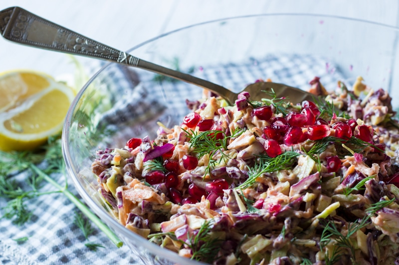 dill pomegranate and sultana coleslaw