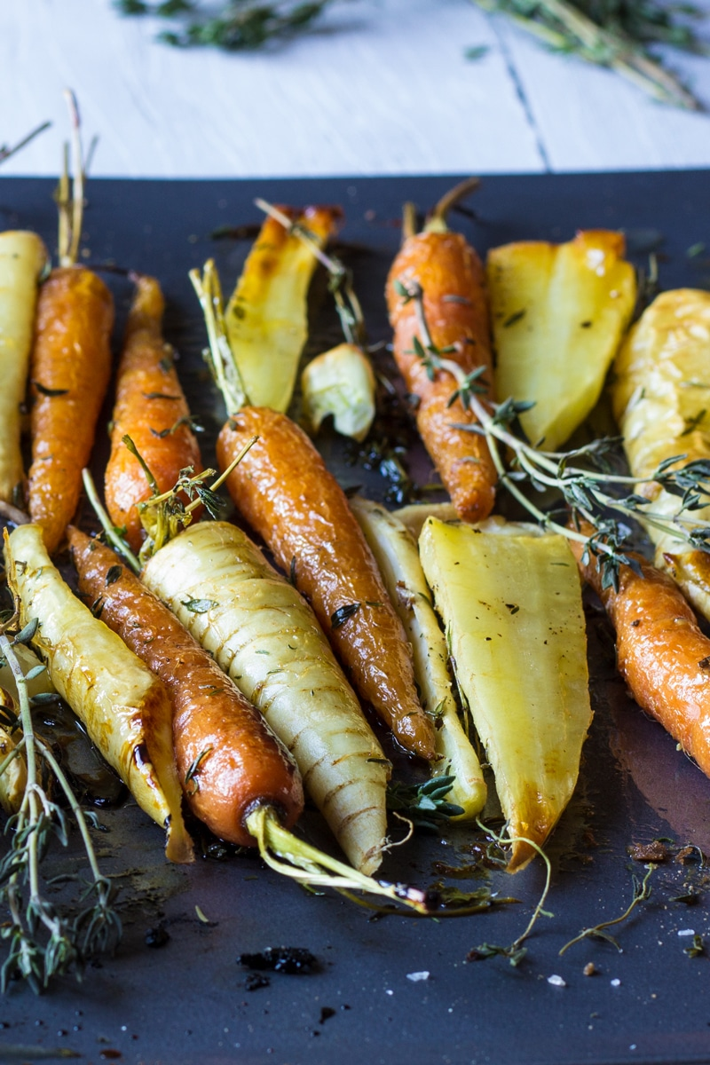 garlic and thyme honey roast carrots and parsnips