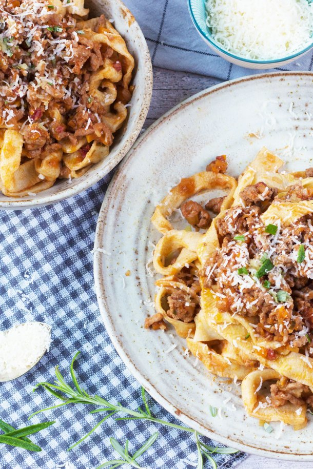 salami bolognese with homemade pasta