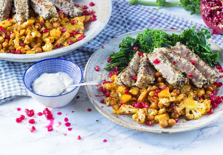 tuna with paprika cauli and chickpeas