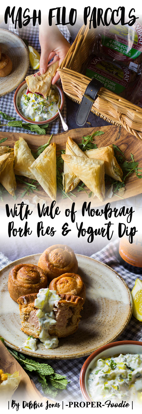 Filo mash parcels with Vale of Mowbray pork pies and yogurt dip