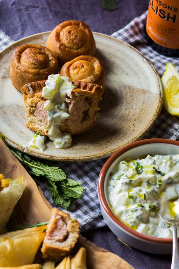 mint cucumber and yogurt dip with pork pies