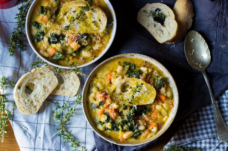 white bean and black kale ribollita soup