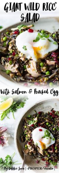 Giant wild rice salad with salmon & poached egg