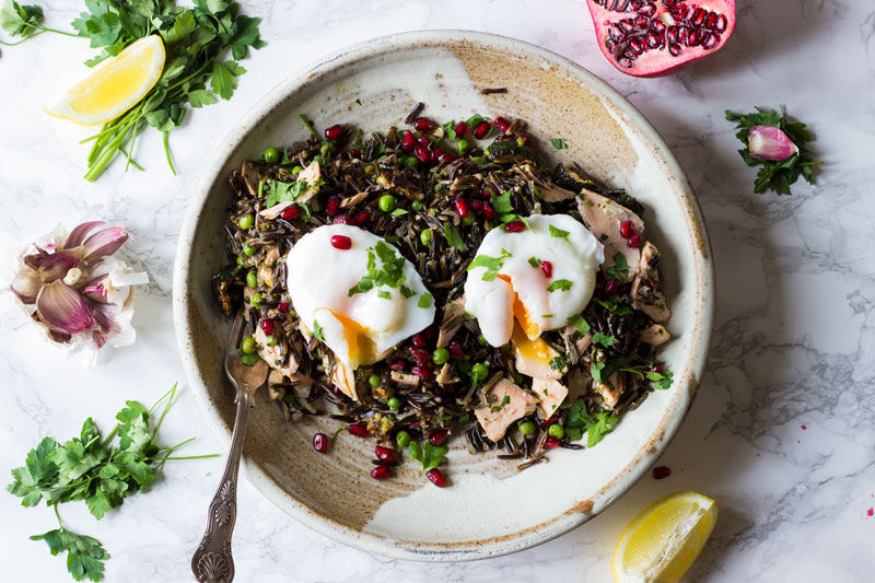 Giant wild rice salad with salmon and egg