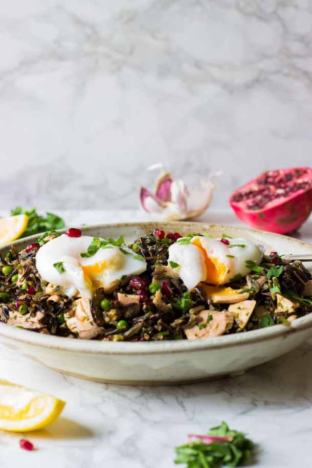 rice salad with poached eggs and salmon