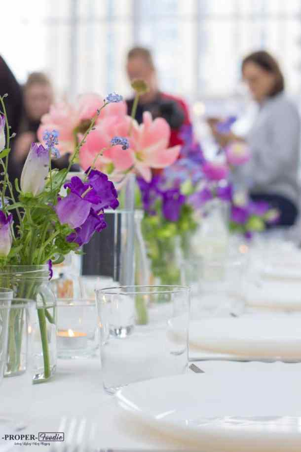 flowers and table settings at Rye studio in Hackney London