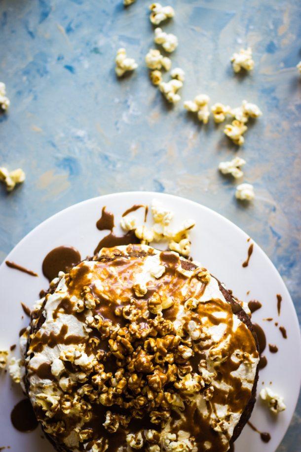 salted caramel popcorn cream cake 2