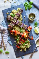rump steak and red onion BBQ skewers with Very lazy dressing and pesto quinoa