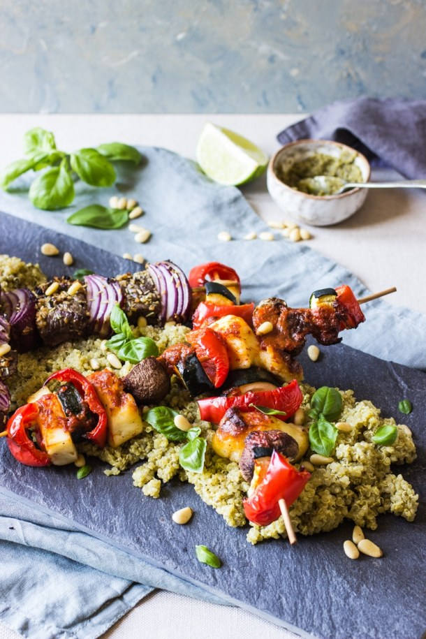 rump steak and red onion Barbecue skewers with pesto quinoa