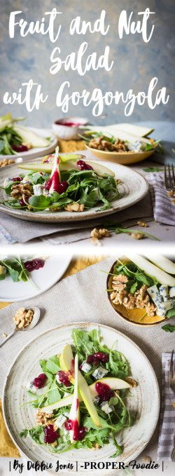 fruit and nut salad with gorgonzola cheese