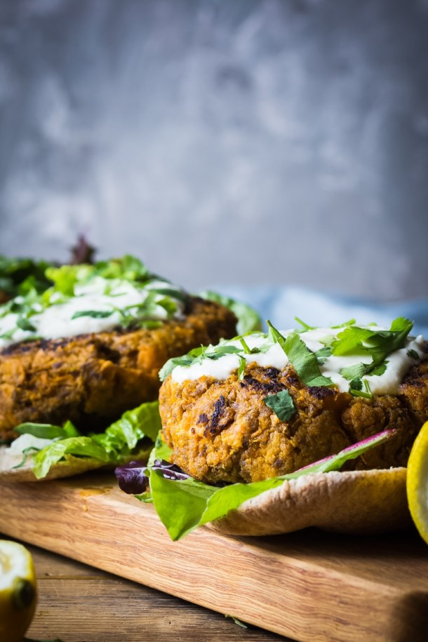 sweet potato beef burgers with garlic tahini sauce in pitta bread