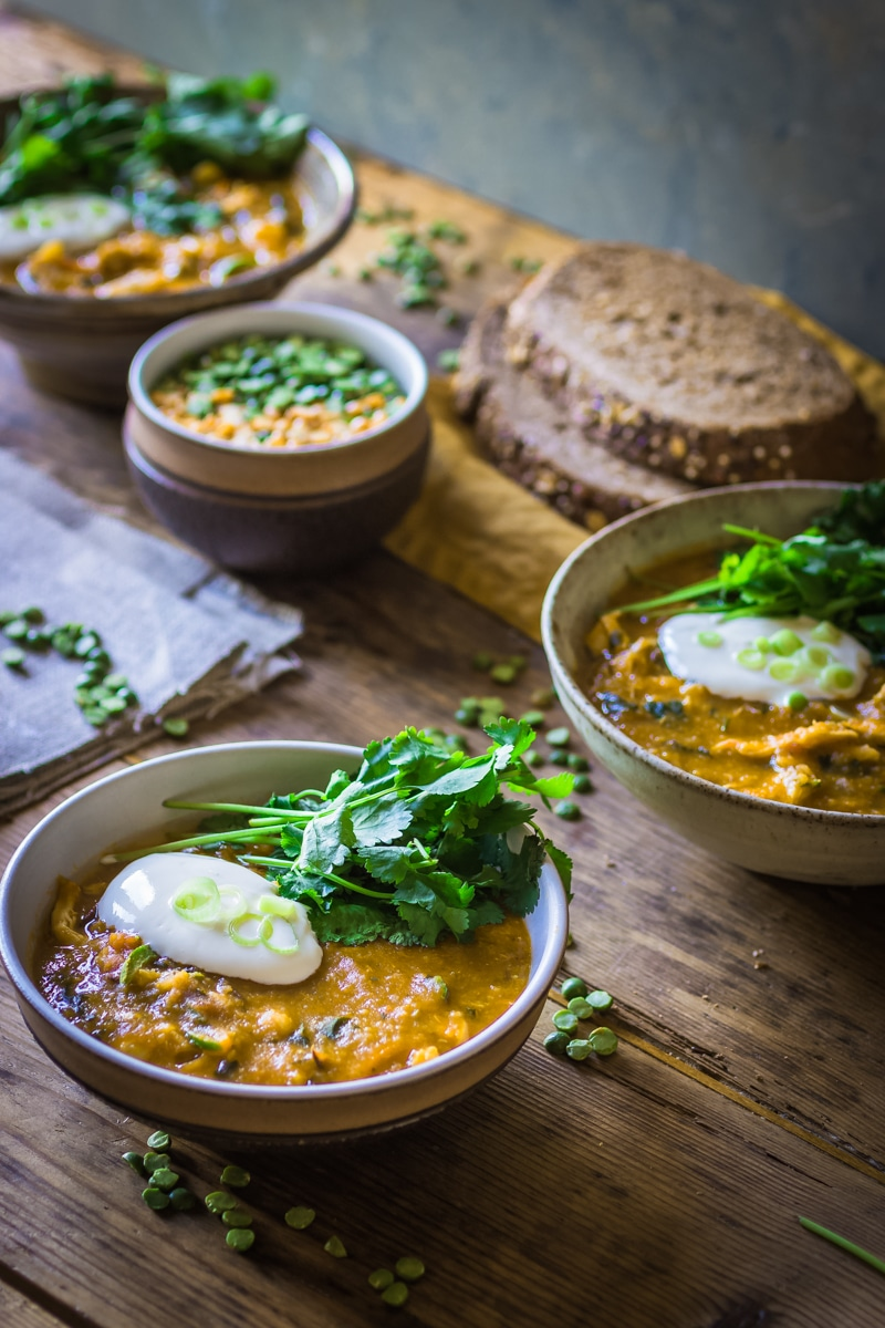 Spicy yellow split pea and chicken soup