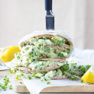 egg and avocado sandwich with yogurt dressing