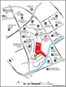 Canberra Drive Parcel A Parcel B location map