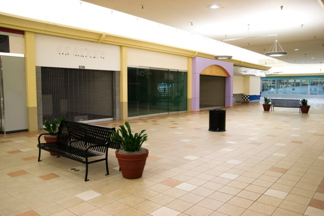 Closed Shopping Mall With No Guests Impacting Retail Property Manager's Salaries