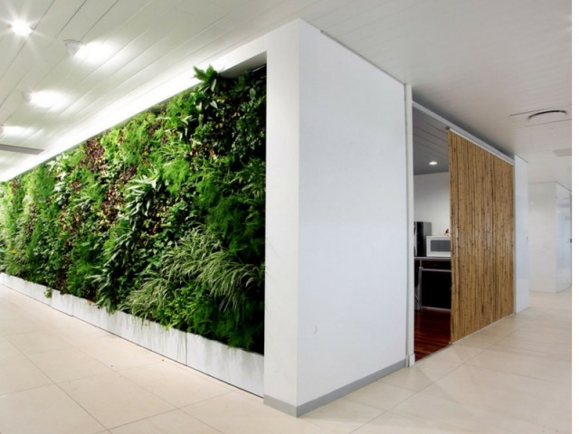 Office Garden Walls In White Interior Office Space