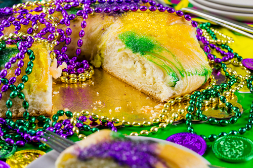 Traditional King Cake for Mardi Gras Celebration During Apartment Resident Event Ideas For March