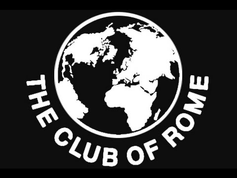"""Black background-picture of the globe inside a white circle with the countries in white and the oceans in black. In large white capitals the words """"The Club of Rome&quot"""