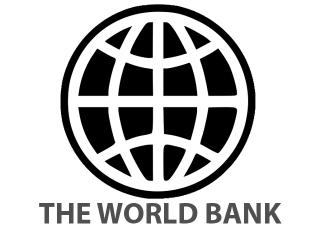 """Black and white logo of stylized globe with the words, """"The World Bank"""" in capitals below."""