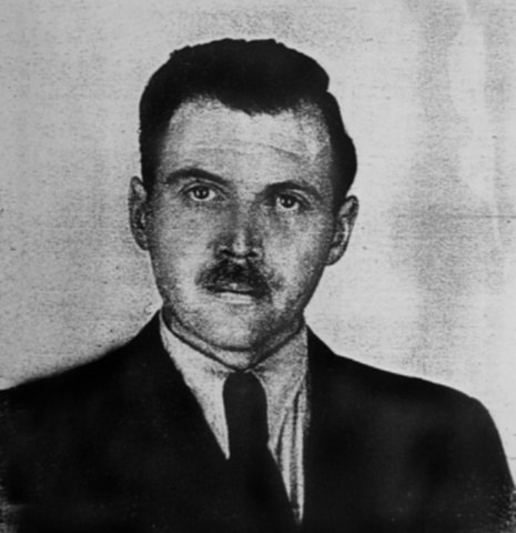Black and white passport portrait photograph of Josef Mengele, with mustache and dark hair, wearing dark suit and tie.A new eugenics.