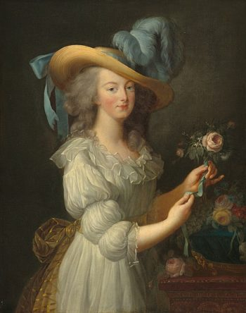 Colored portrait of Marie Antoinette in large brimmed  hat with feather plumes and an off-white dress with puffed sleeves. She is holding a rose. Immorality psyop.