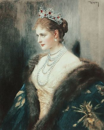 Colored portrait of a young Tsarina Alexandra, wearing a tiara, pearls, evening dress and fur-trimmed coat. Immorality psyop.