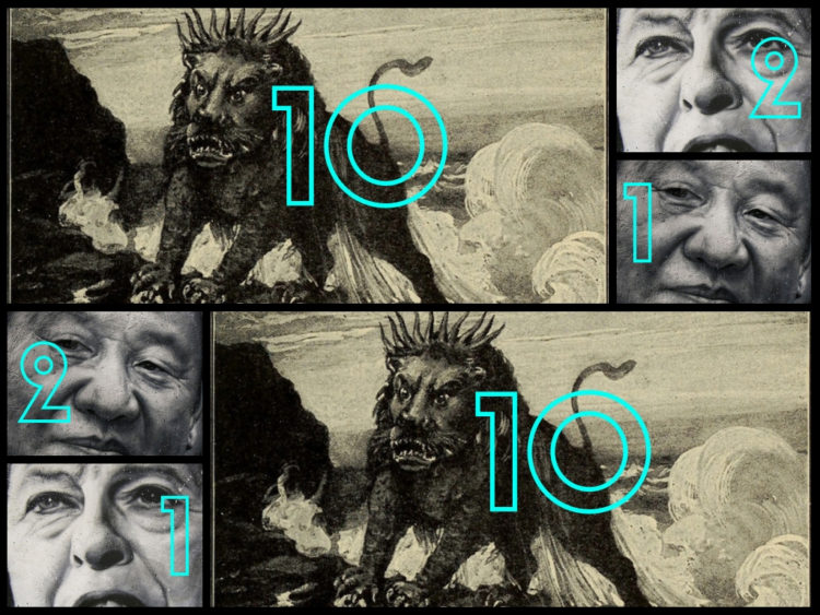 2 black and white representations of the 10-horned beast of the book of Daniel juxtaposed with 2 pictures each of Xi Jingping and Theresa May. Horns Coming Into View.