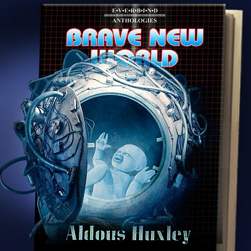 "Colored photograph of a book cover  with the title in blue capitals outlined with red, ""Brave New World"". In front is a metallic sphere with an open door  and adorned with piping, containing a struggling baby. All in shades of blue. Author's name ""Aldous Huxley"" also in blue lettering at base of cover.  Beast Interface."