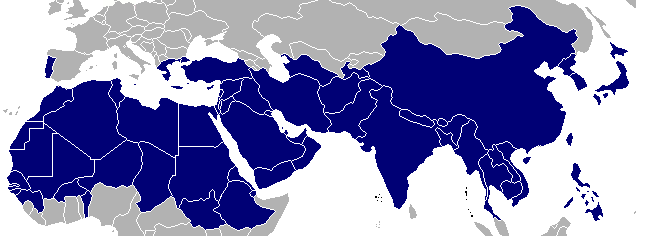 Colored picture of  section of world map, with a strip of countries highlighted in dark blue. Relay evangelists.