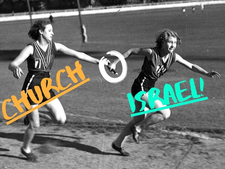 "Black and white photograph of 2 women passing a baton during a relay race. Superimposed colored words ""CHURCH"" and ""ISRAEL""  with the baton circled in white. Relay Evangelists."