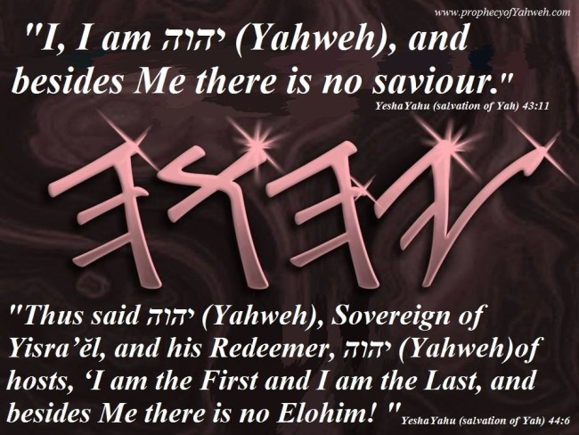 I am Yahweh there is no Savior besides Me