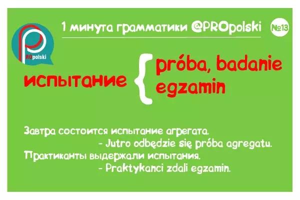 Одна минута грамматики ProPolski 13: испытание