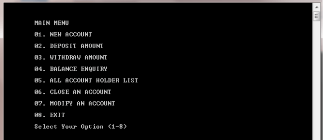 Bank management system in C++ 2
