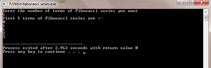 fabonacci series in C++