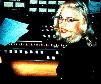 Madonna wearing Browline glasses