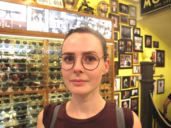 female wearing MOSCOT / ZEV