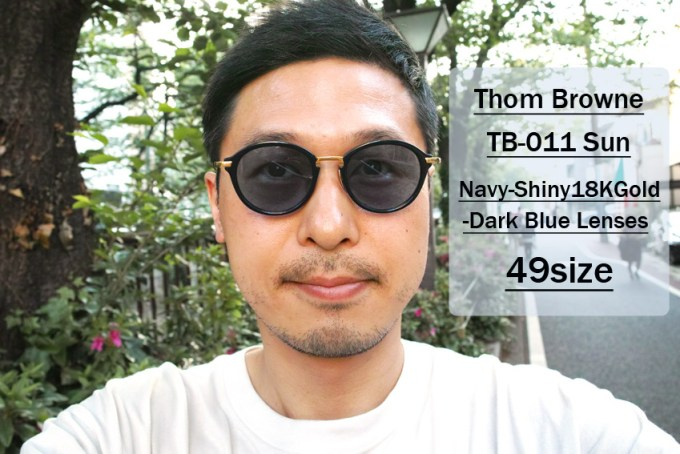 Thom Browne / TB-011 Sun / Navy - Shiny 18K Gold - Dark Blue / 49size