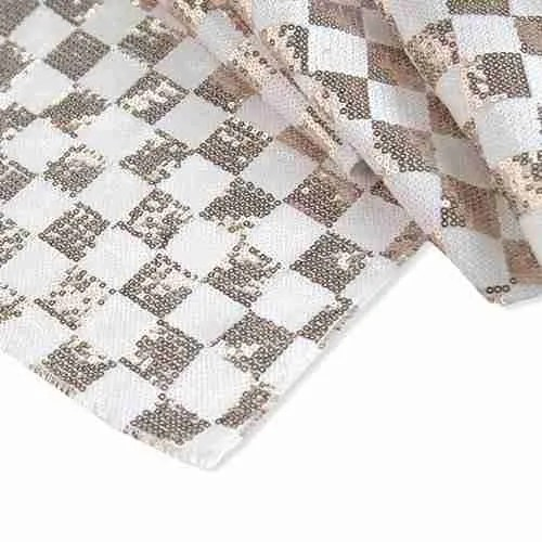 Chequered Sequin Backdrop White Champagne (1)