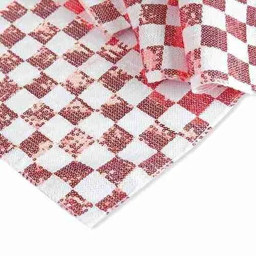 Chequered Sequin Backdrop White Red