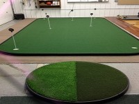 big green putting green in chicago with chipping pad