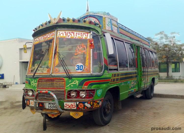 Pakistani Passenger Bus with Traditional Decoration