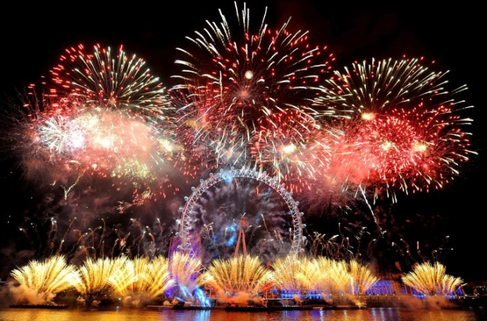 Fireworks explode over the London Eye during New Year celebrations. (Dominic Lipinski/Press Association)