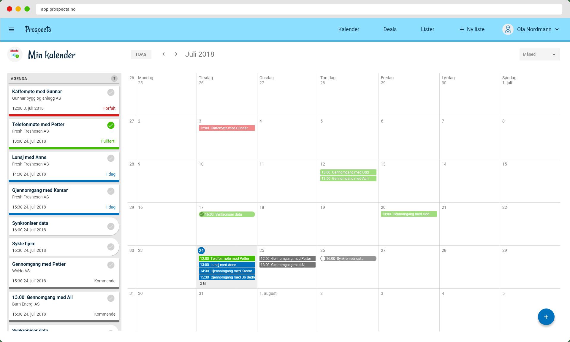 kalender i salgsverktøyet