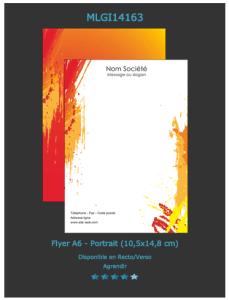 Un des modèles de flyers standard mais peut parfaitement convenir pour votre réception de vernissage, à voir sur notre site.