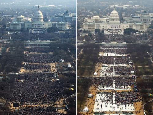 A sinistra Obama 2009, ore 11. A destra Trump, ore 12.