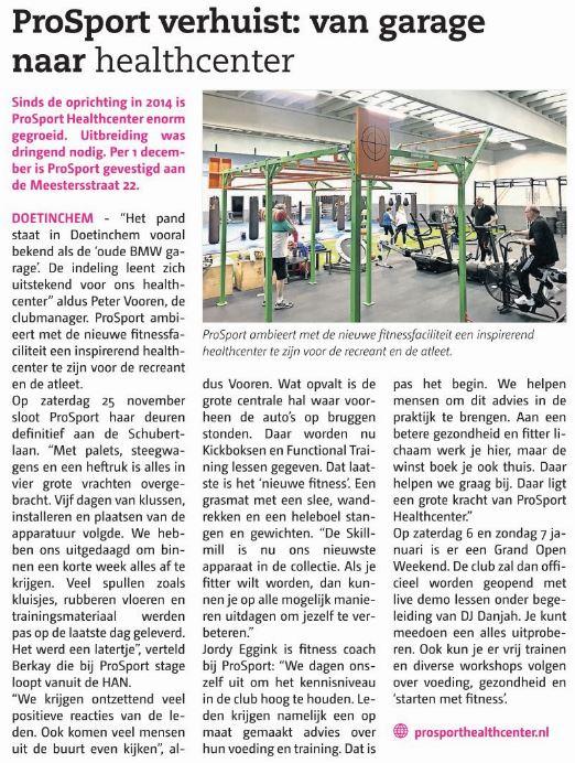 persbericht ProSport Healthcenter Opening