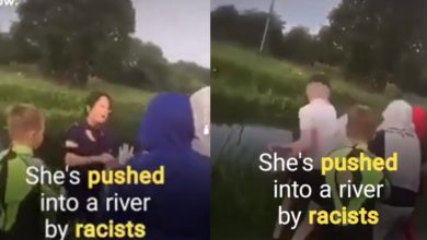 Photo of Racists Shove Asian Woman Into River