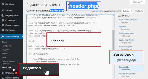 Место вставки кода счетчика